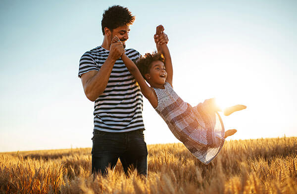 Fusion Allergy Man Playing With Child In Nature